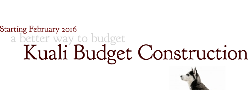 Kuali Budget Construction wordle with sitting huskey dog