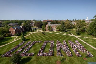 UConn spelled out with people